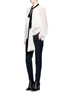 ChloéVelvet tie neck ruffle trim crépon blouse
