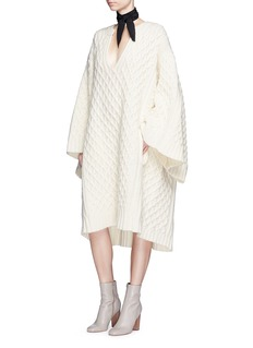 ChloéDiamond lattice textured wool knit dress