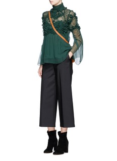 Chloé Raised embroidery silk crépon blouse