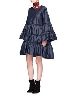 ChloéRuffle trim silk shantung dress