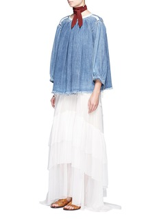 Chloé Frayed hem cotton denim top