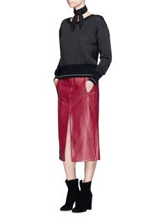 ChloéZip teeth trim split leather skirt