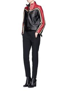 ChloéColourblock leather biker jacket