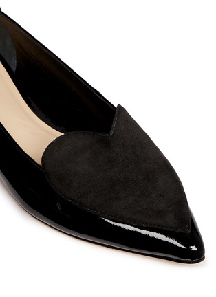 Detail View - Click To Enlarge - Isa Tapia - 'Clement' suede heart patent leather skimmer flats