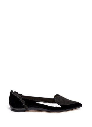 Main View - Click To Enlarge - Isa Tapia - 'Clement' suede heart patent leather skimmer flats