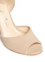'Alba' nappa trim pompom wraparound suede sandals