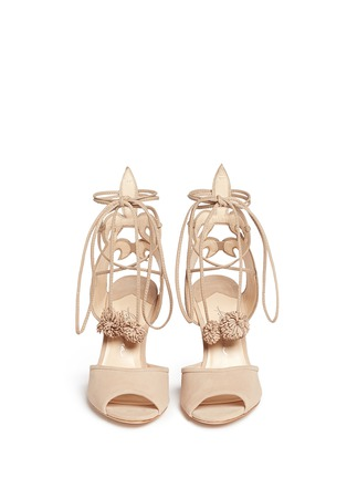 Front View - Click To Enlarge - Isa Tapia - 'Alba' nappa trim pompom wraparound suede sandals