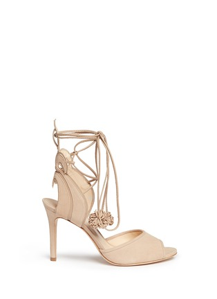 Main View - Click To Enlarge - Isa Tapia - 'Alba' nappa trim pompom wraparound suede sandals