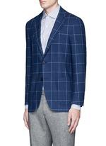 Zegna® windowpane check wool-cashmere soft blazer