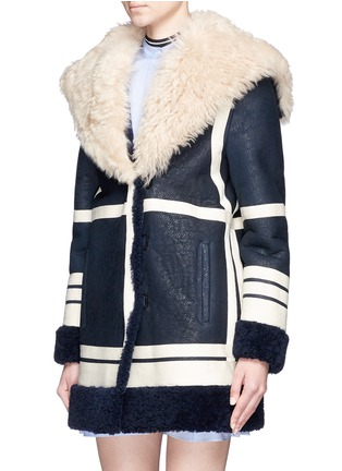 Front View - Click To Enlarge - Cédric Charlier - Fur collar sheepskin shearling coat
