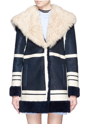 Main View - Click To Enlarge - Cédric Charlier - Fur collar sheepskin shearling coat