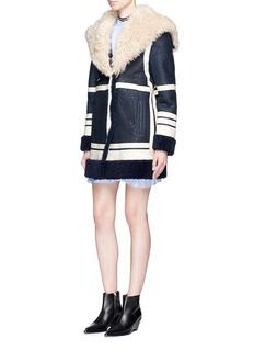 Cédric CharlierFur collar sheepskin shearling coat