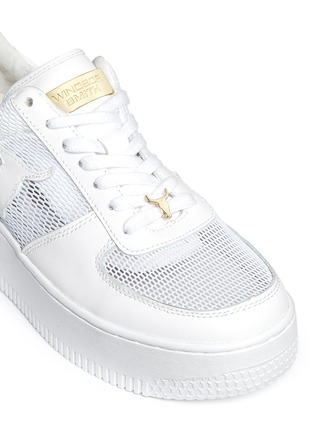 Detail View - Click To Enlarge - Windsor Smith - 'Racemesh' logo leather platform sneakers