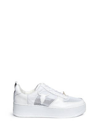 Main View - Click To Enlarge - Windsor Smith - 'Racemesh' logo leather platform sneakers