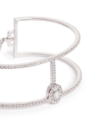 Detail View - Click To Enlarge - Messika - 'Amazone Skinny 2 Rangs' diamond 18k white gold bracelet