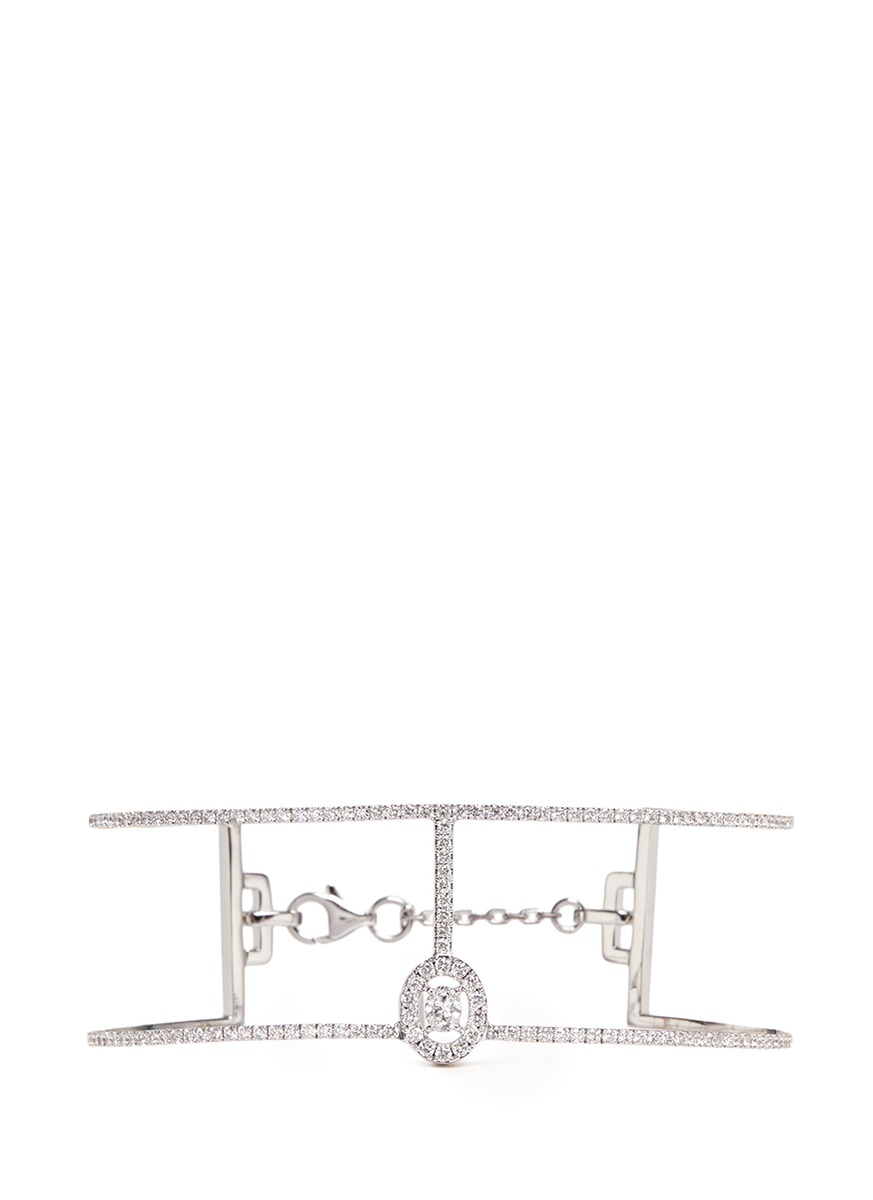 Amazone Skinny 2 Rangs diamond 18k white gold bracelet by Messika