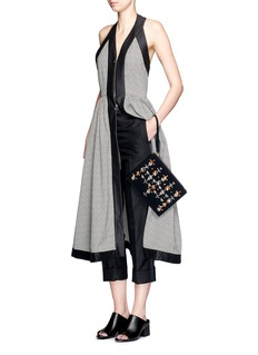 MARNICrystal appliqué bonded crepe leather pouch