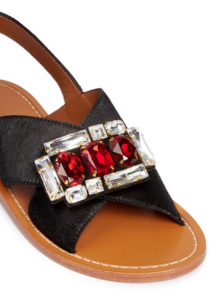 Detail View - Click To Enlarge - Marni - Jewelled ponyhair slingback sandals