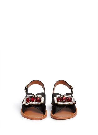 Front View - Click To Enlarge - Marni - Jewelled ponyhair slingback sandals