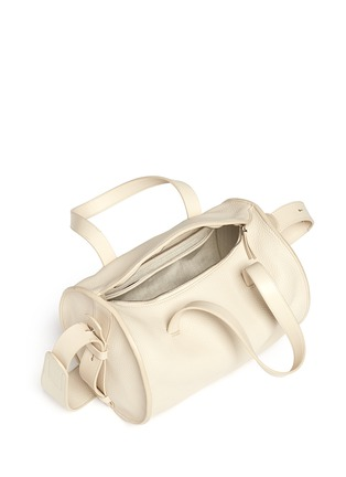 Detail View - Click To Enlarge - The Row - 'Drum' ostrich trim bull leather shoulder bag