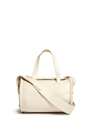 Main View - Click To Enlarge - The Row - 'Drum' ostrich trim bull leather shoulder bag