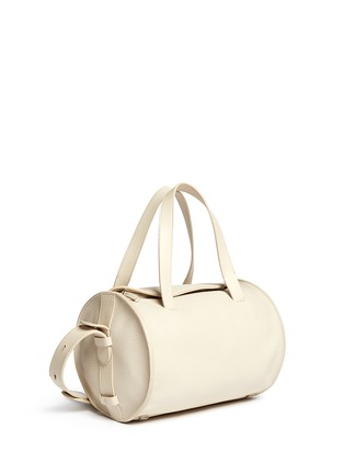 Figure View - Click To Enlarge - The Row - 'Drum' ostrich trim bull leather shoulder bag