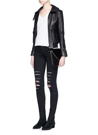 - BOYY - 'Mini Slash' calf hair flap leather shoulder bag