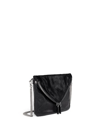 Front View - Click To Enlarge - BOYY - 'Mini Slash' calf hair flap leather shoulder bag
