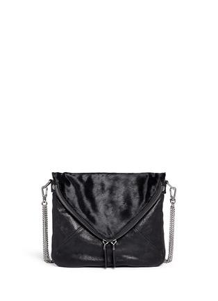 Main View - Click To Enlarge - BOYY - 'Mini Slash' calf hair flap leather shoulder bag