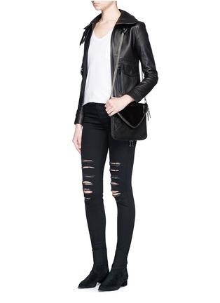 Figure View - Click To Enlarge - BOYY - 'Mini Slash' calf hair flap leather shoulder bag