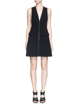 Main View - Click To Enlarge - Alaïa - Plunge V-neck zip jersey knit dress