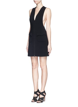 Figure View - Click To Enlarge - Alaïa - Plunge V-neck zip jersey knit dress