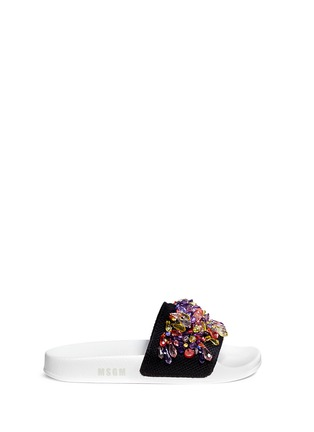 Main View - Click To Enlarge - MSGM - Jewelled mesh slide sandals
