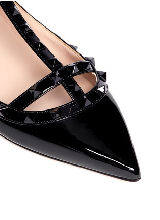 Detail View - Click To Enlarge - Valentino - Rockstud caged patent leather flats