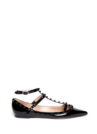 Main View - Click To Enlarge - Valentino - Rockstud caged patent leather flats