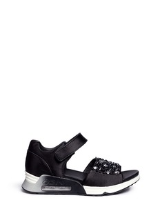 ASHLotus仿水晶铆钉气垫凉鞋