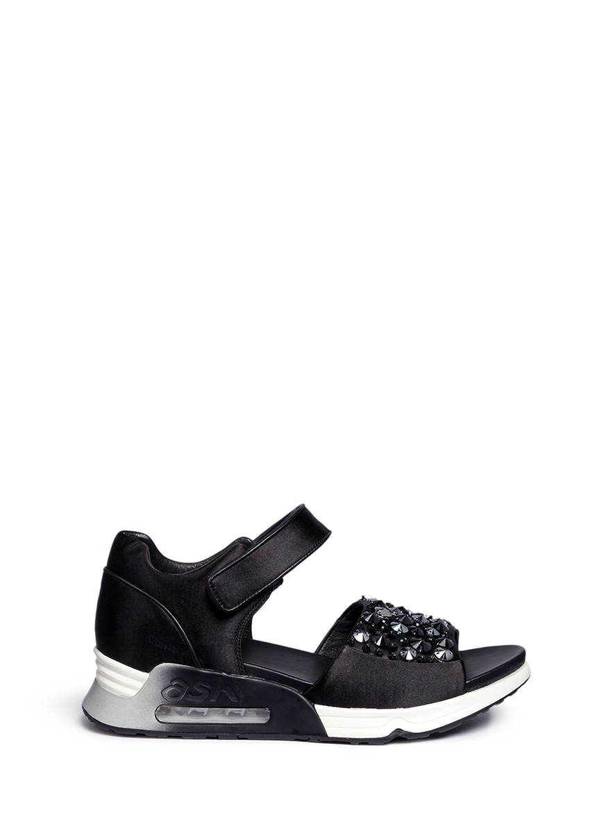 Lotus embellished satin sneaker sandals by Ash