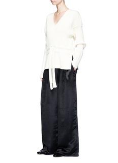 Ms MINRib knit waist wide leg satin pants