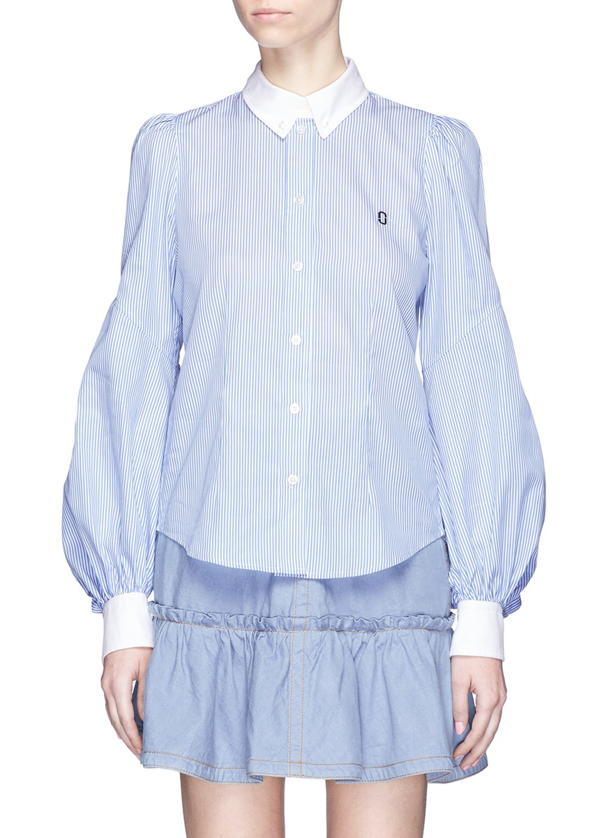 marc jacobs female bishop sleeve stripe cotton shirt