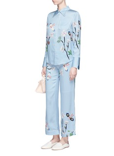 HELEN LEE Flying bunny print silk pyjama shirt