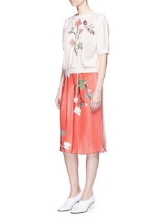HELEN LEE Flying bunny print plissé pleated culottes