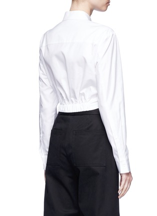 Back View - Click To Enlarge - T By Alexander Wang - Twist front cropped cotton shirt