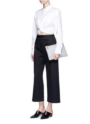 Figure View - Click To Enlarge - T By Alexander Wang - Twist front cropped cotton shirt