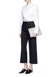T By Alexander WangTwist front cropped cotton shirt