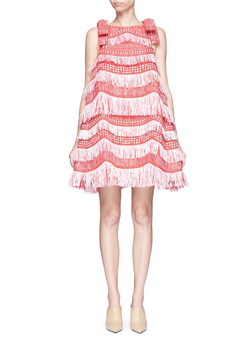 Detachable bow fringe raffia dress by Angel Chen