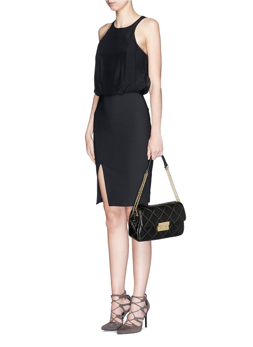 Michael Michael Kors Large Sloan Quilted Shoulder Bag Black Quilted Leather 86