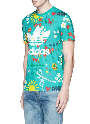 Front View - Click To Enlarge - adidas By Pharrell Williams - 'Doodle' print Climalite® jersey T-shirt