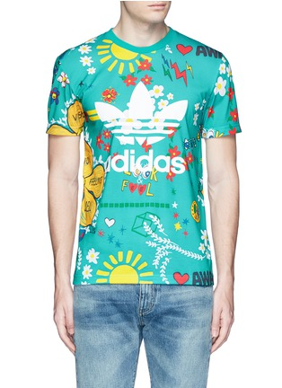 Main View - Click To Enlarge - adidas By Pharrell Williams - 'Doodle' print Climalite® jersey T-shirt