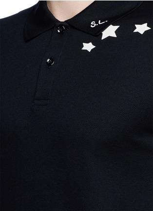 Detail View - Click To Enlarge - Saint Laurent - Star print cotton piqué polo shirt