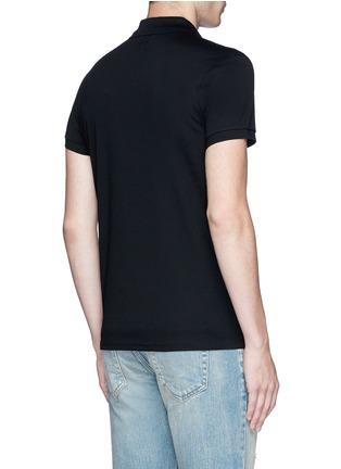 Back View - Click To Enlarge - Saint Laurent - Star print cotton piqué polo shirt